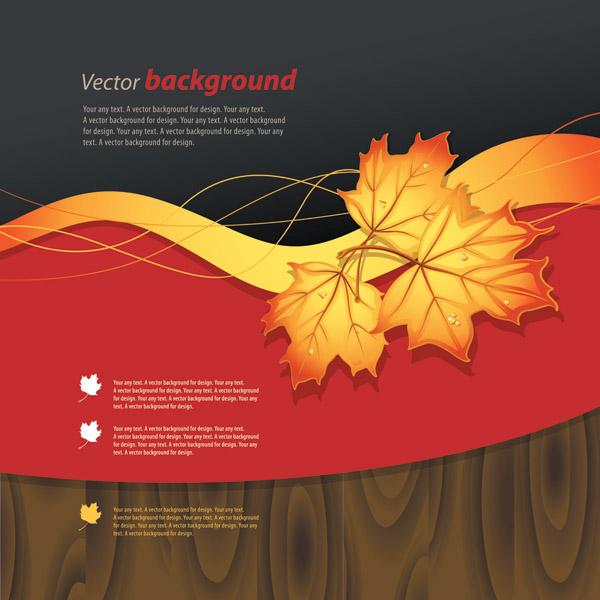 free vector Wood and maple leaf vector