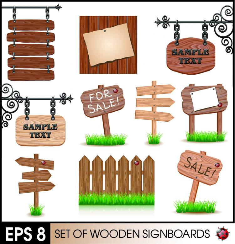 free vector Wood signs 02 vector