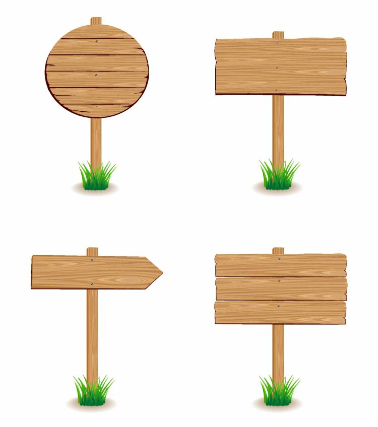 free vector Wooden signboard with grass