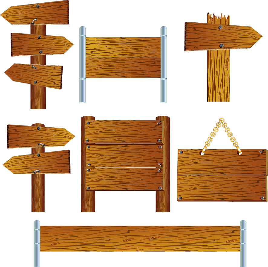 free vector Wooden signs indicate vector