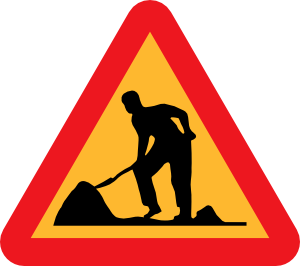 free vector Workman Ahead Roadsign clip art