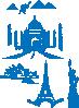 free vector World Landmarks Egipt Paris Sydney Ny Taj Mahal clip art