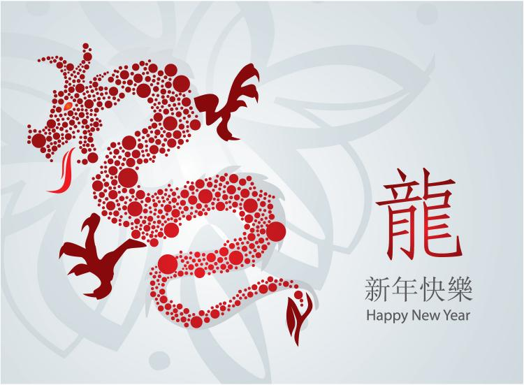 free vector Year of the dragon cards 01 vector