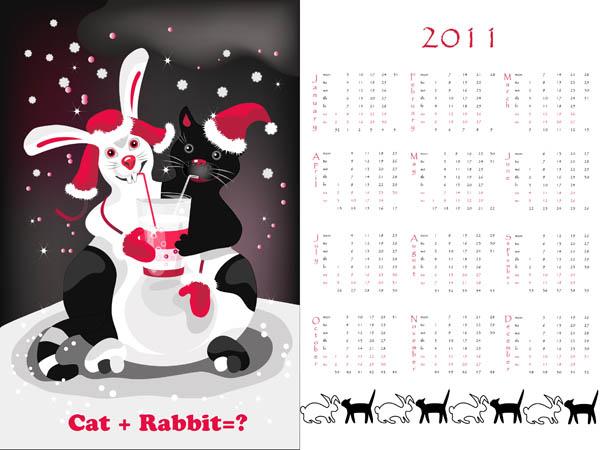 free vector Year of the rabbit 2011 calendar template vector