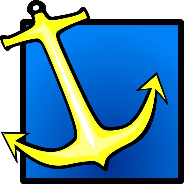 free vector Yellow Anchor Blue Background clip art