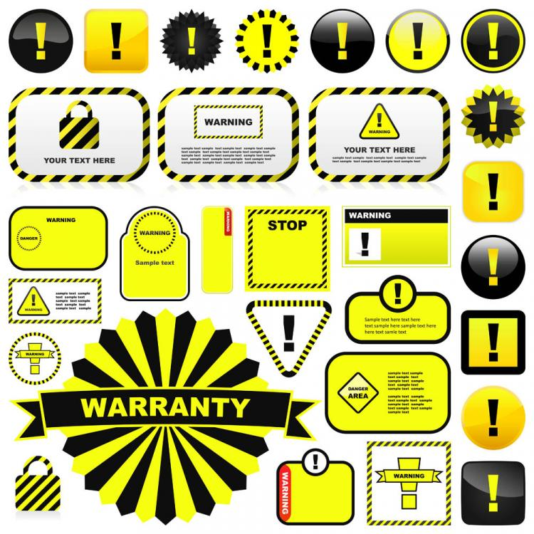 free vector Yellow warning signs and labels 01 vector