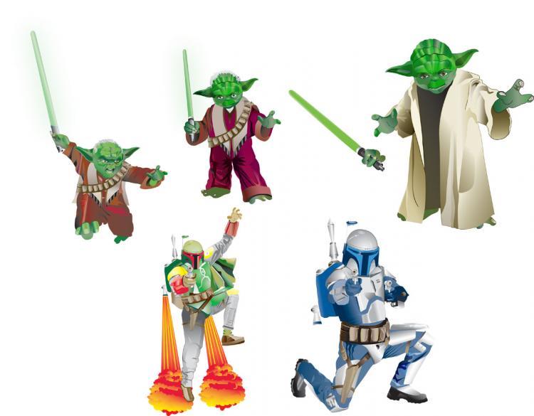 free vector Yoda Jango Boba Fett