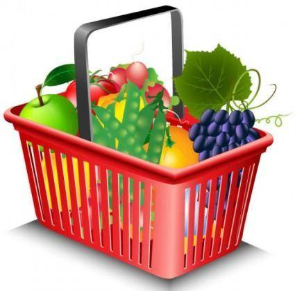 Fruits and vegetables and shopping basket 02 vector