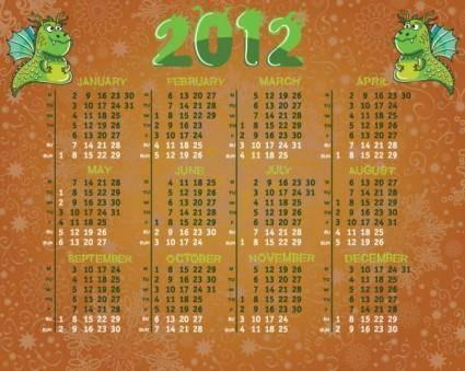 free vector Calendar 2012 calendar 01 vector