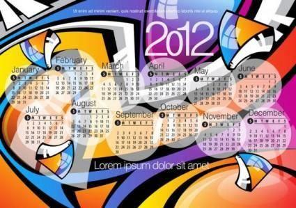 2012 calendar 02 vector