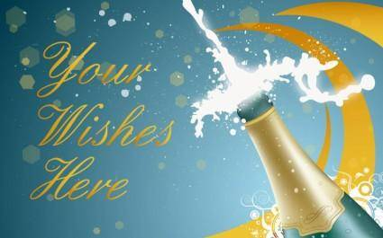 free vector New Year Champagne
