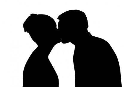 Silhouetted kiss