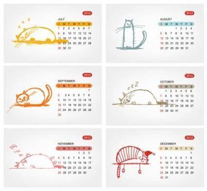 free vector 2012 calendar template 01 vector