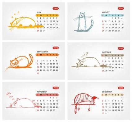 2012 calendar template 01 vector