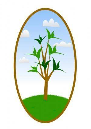 free vector Oval Tree Landscape