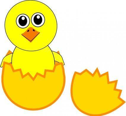 free vector Funny Chick Cartoon Newborn Coming Out from the Egg