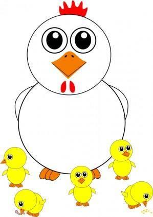 Funny Chicken and Chicks Cartoon