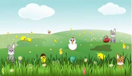 free vector Easter Landscape with bunnies, chicks, eggs, chicken, flowers