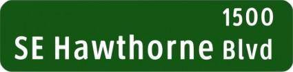 free vector Portland Oregon street name sign: SE Hawthorne Blvd