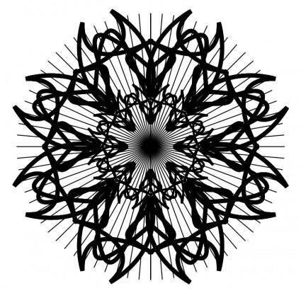 free vector Black and white rosette 2