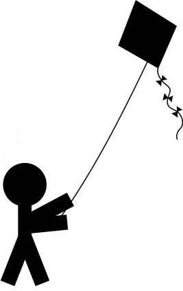 free vector Child with a kite silhouette