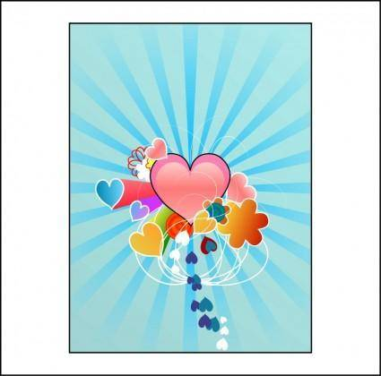 free vector Hearts with Blue Rays