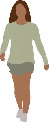 Faceless woman walking