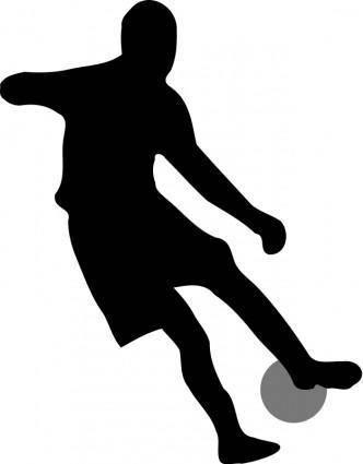Soccer player dribbling silhouette