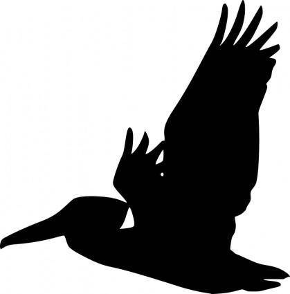 free vector Flying Pelican Silhouette