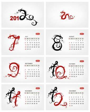 free vector 2012 calendar template 03 vector