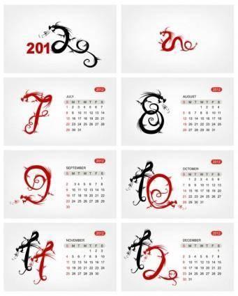 2012 calendar template 03 vector