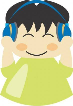 free vector Boy with headphone1