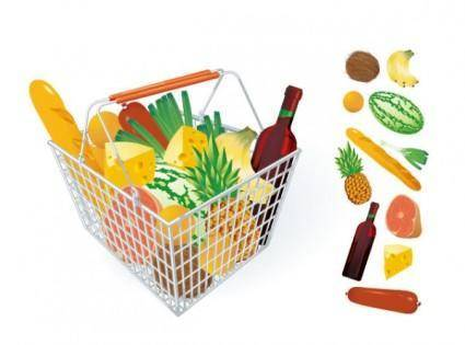 free vector Fruits and vegetables and shopping basket 04 vector