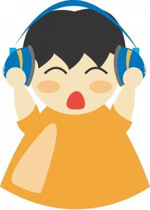 free vector Boy with headphone2