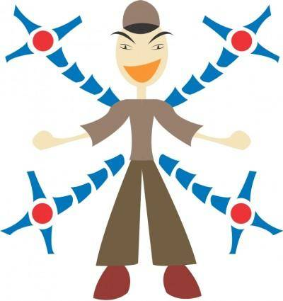 free vector Man with mechanic arms