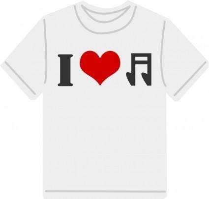 free vector I Love music T-shirt