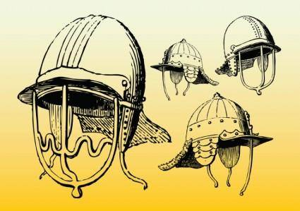 free vector Antique Helmets