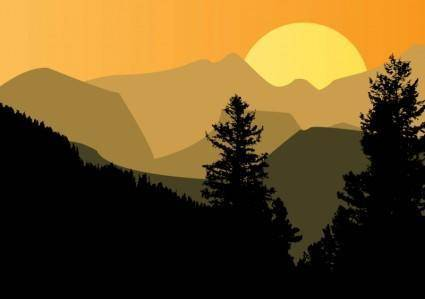 free vector Mountain Sunset