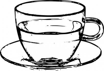 free vector Glass cup with saucer line art