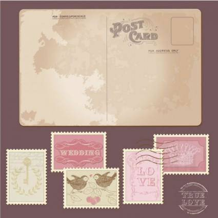 Classic postcards and stamps 02 vector