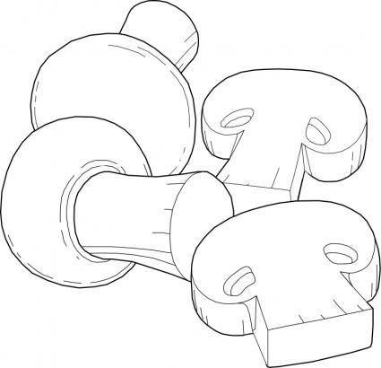 free vector Mushrooms Line Art