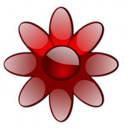 free vector Red Glossy Flower