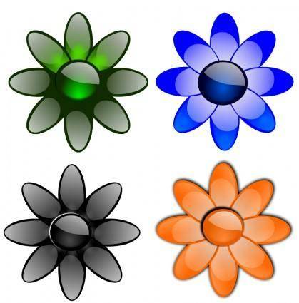free vector Glossy flowers 2