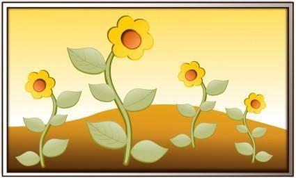free vector Flowers in field
