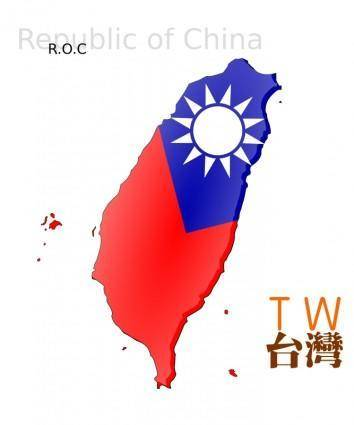free vector Map-based flag of Taiwan