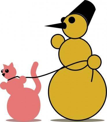 free vector Snowman Cat Fancier by Rones