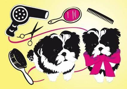 free vector Cute Dogs Beauty Salon