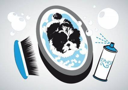 free vector Small Dog Bath