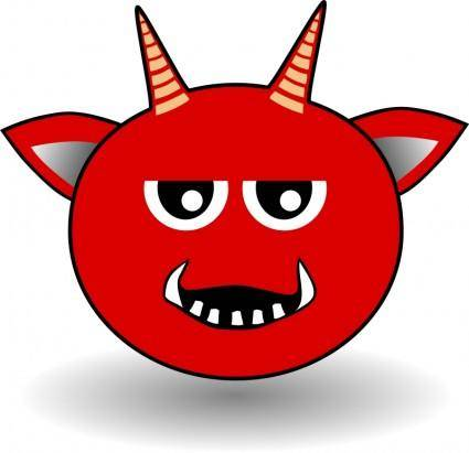 free vector Little Red Devil Head Cartoon