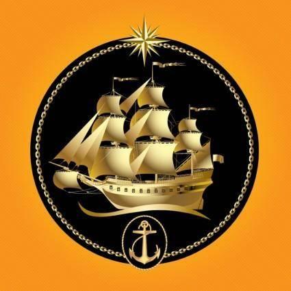 free vector Gold Sailboat